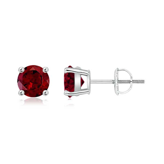 Angara 3 Prong Garnet Stud Earrings in Yellow Gold