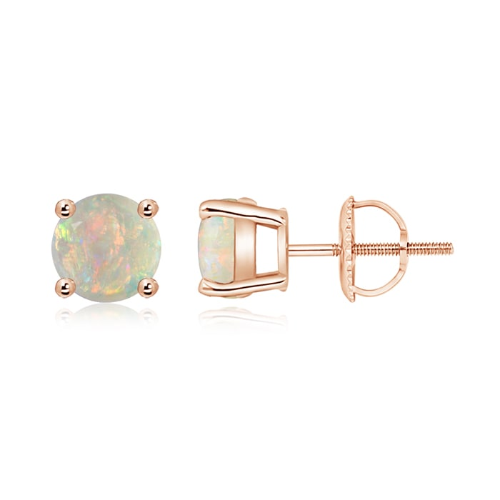 Angara Basket-Set Round Opal Stud Earrings with Diamond dm5Gr