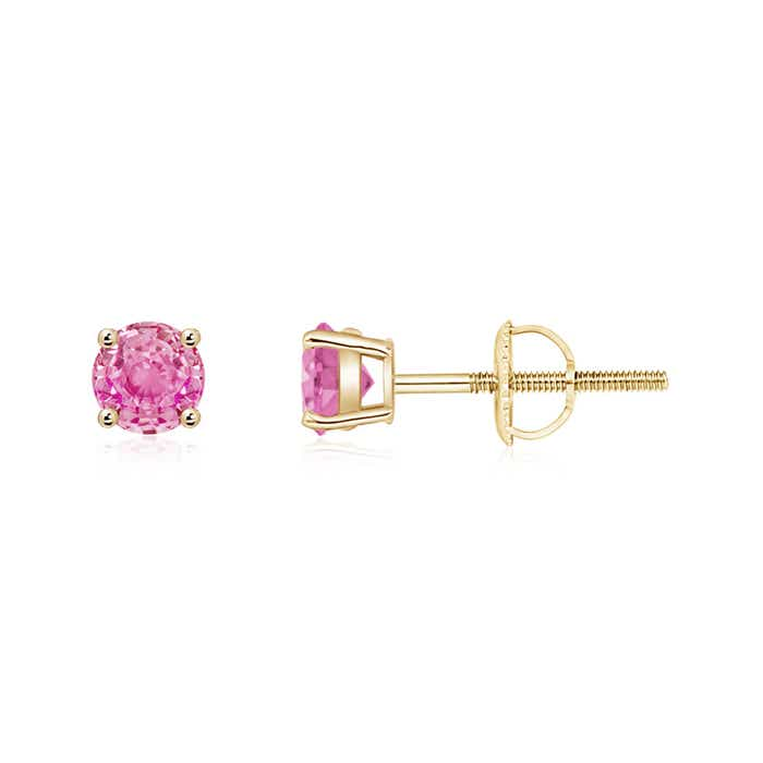 Angara Prong Set Pink Sapphire Basket Stud Earrings in 14k Yellow Gold MO4iH