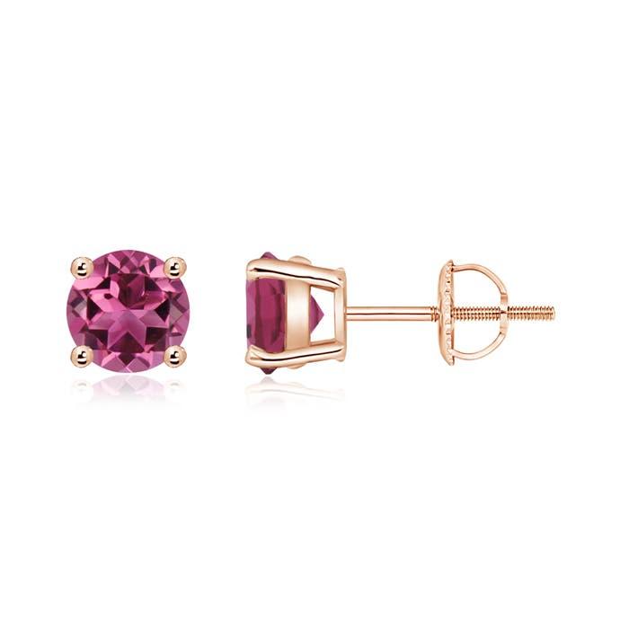 Basket Set Round Pink Tourmaline Stud Earrings - Angara.com