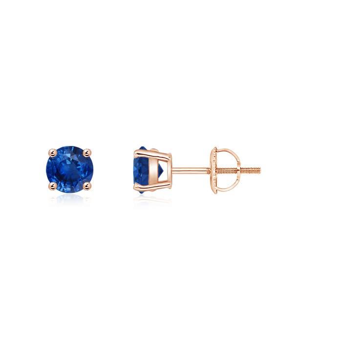 Angara Screw Back Sapphire Stud Earrings in 14k Rose Gold eNhNnLGDz5