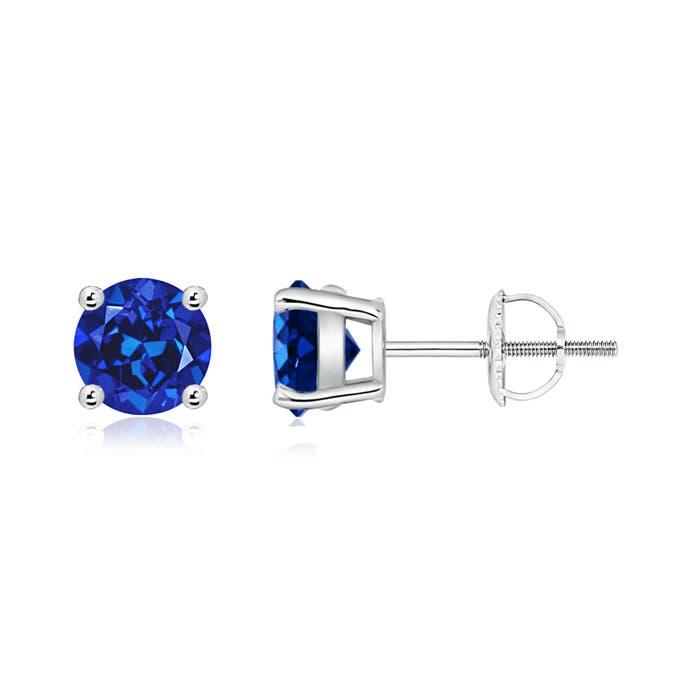 Basket Set Round Lab Created Blue Sapphire Stud Earrings - Angara.com