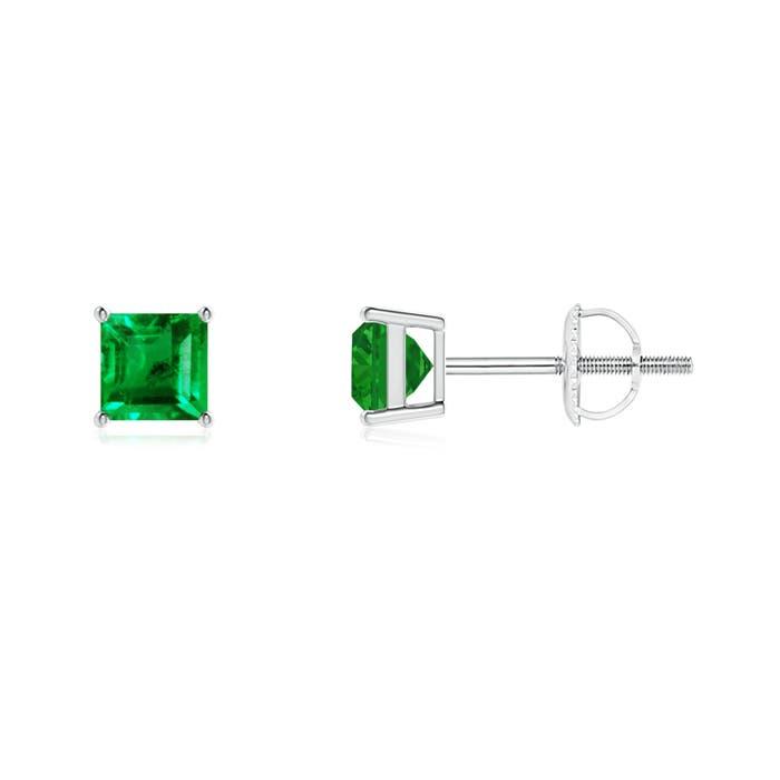 Classic Basket-Set Square Emerald Stud Earrings - Angara.com