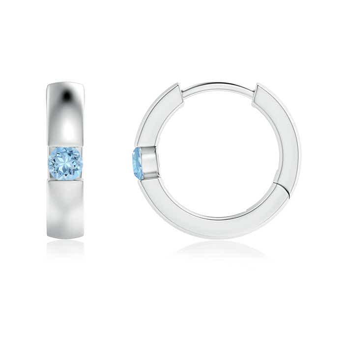 Channel-Set Round Aquamarine Hinged Hoop Earrings - Angara.com