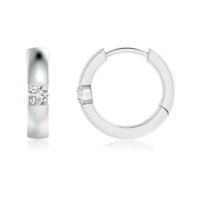 Channel-Set Round Diamond Hinged Hoop Earrings