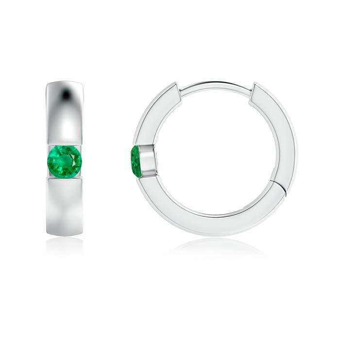 Channel-Set Round Emerald Hinged Hoop Earrings - Angara.com