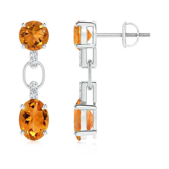 Angara Round and Oval Citrine Dangle Earrings in 14K Rose Gold vKTU7GF