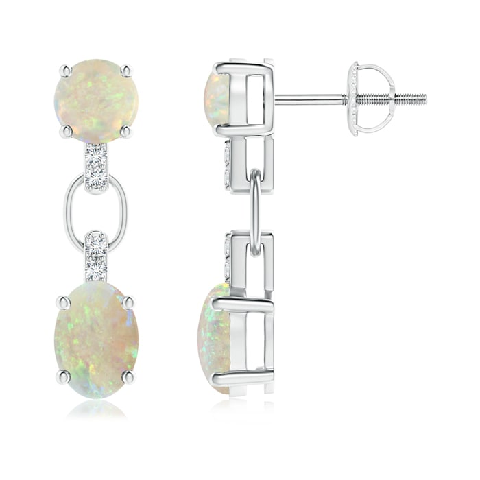 Round and Oval Opal Dangle Earrings with Diamond Accents - Angara.com
