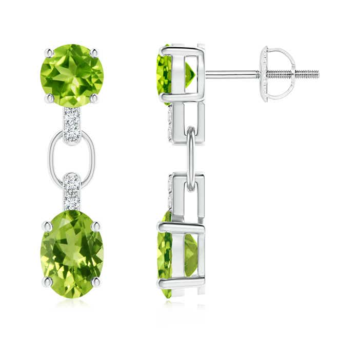 Round and Oval Peridot Dangle Earrings with Diamond Accents - Angara.com