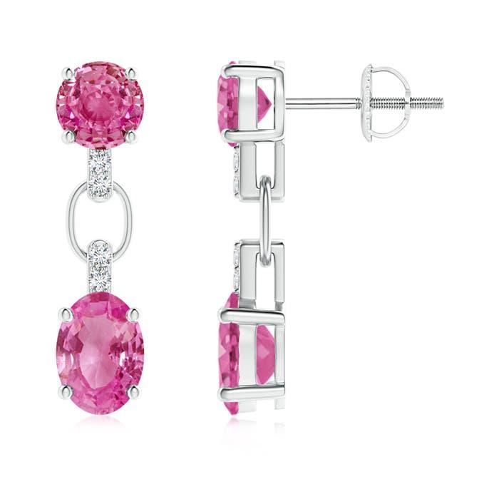 Round and Oval Pink Sapphire Dangle Earrings with Diamonds - Angara.com