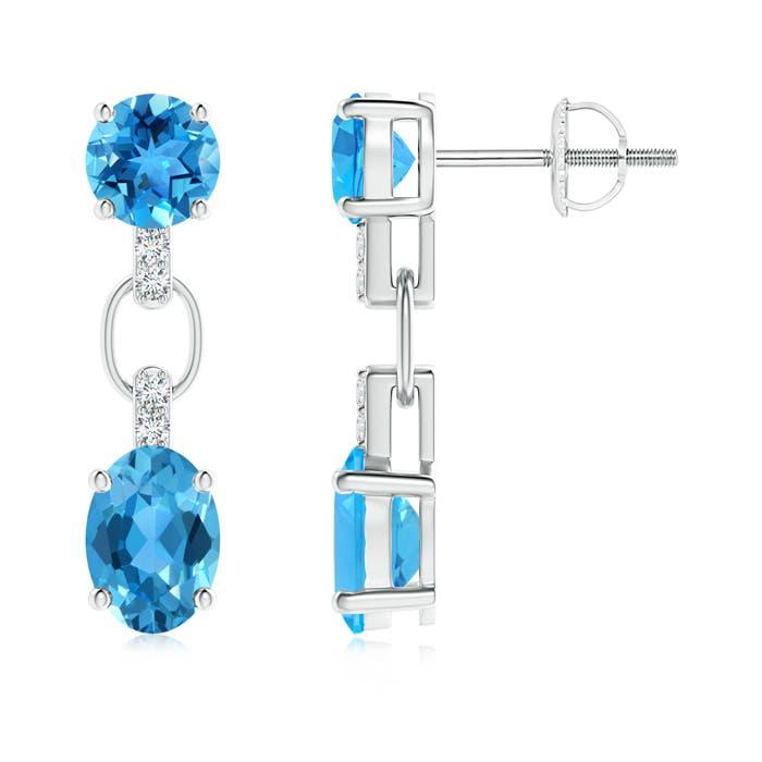 Round and Oval Swiss Blue Topaz Dangle Earrings - Angara.com