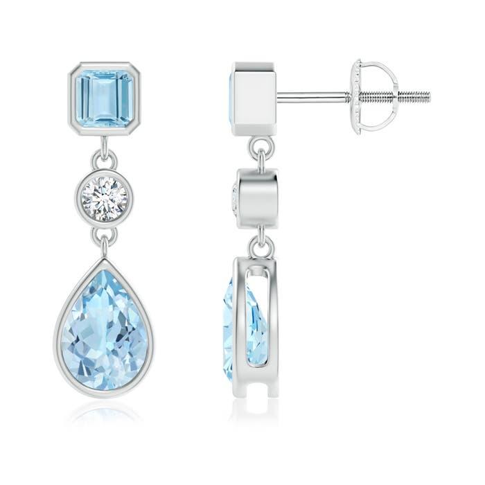 Emerald-Cut and Pear-Shaped Aquamarine Drop Earrings - Angara.com