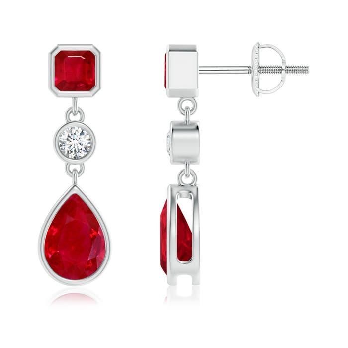 Emerald-Cut and Pear Shaped Ruby Drop Earrings - Angara.com