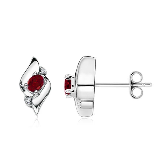 Shell Design Oval Garnet and Diamond Stud Earrings - Angara.com