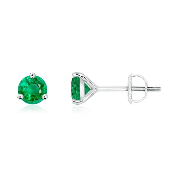 3 Prong Martini Setting Round Emerald Stud Earrings - Angara.com