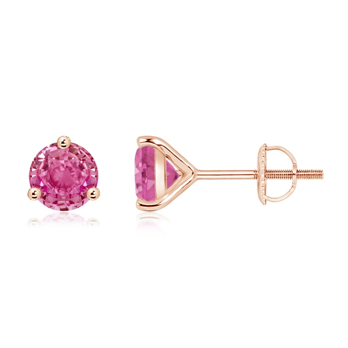 Martini-Set Round Pink Sapphire Stud Earrings - Angara.com
