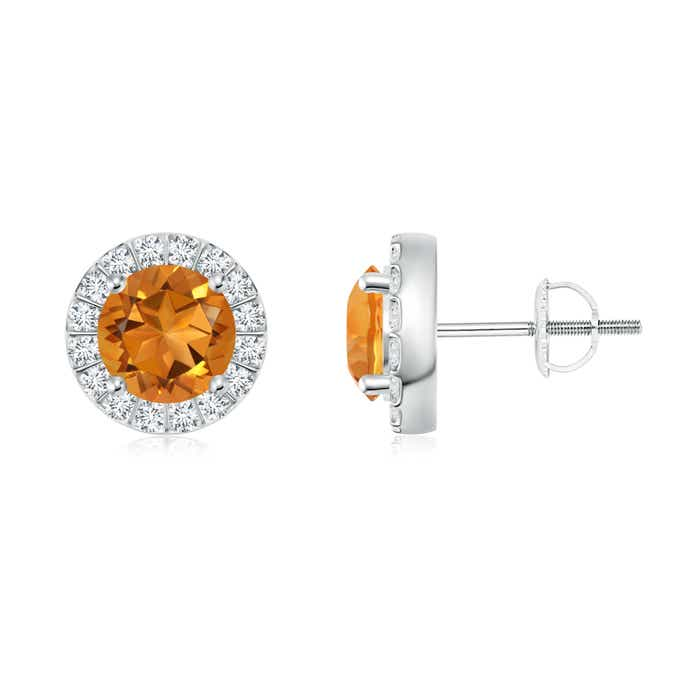 Angara Bar Set Round Diamond Halo Citrine Stud Earrings in Yellow Gold 2UDrT