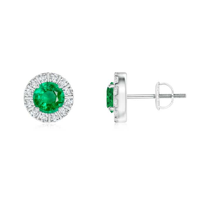 Emerald Stud Earrings with Bar-Set Diamond Halo - Angara.com