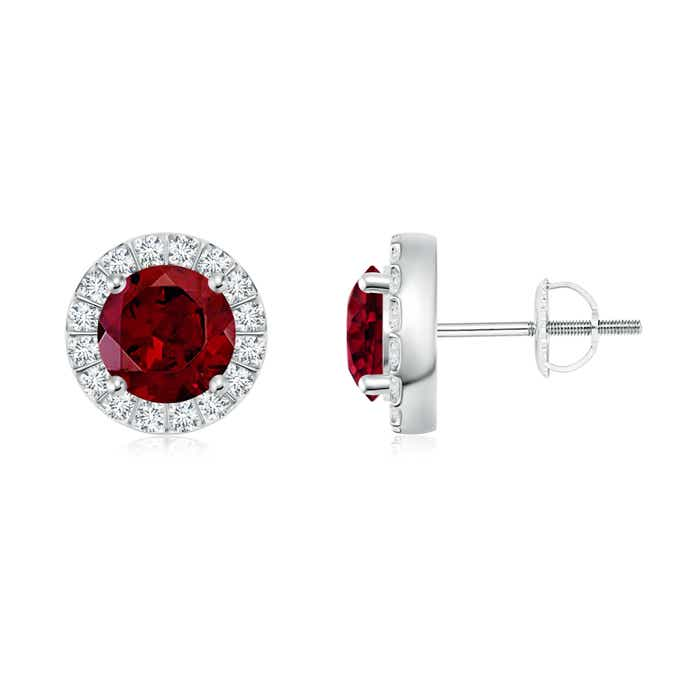 Garnet Stud Earrings with Bar-Set Diamond Halo - Angara.com