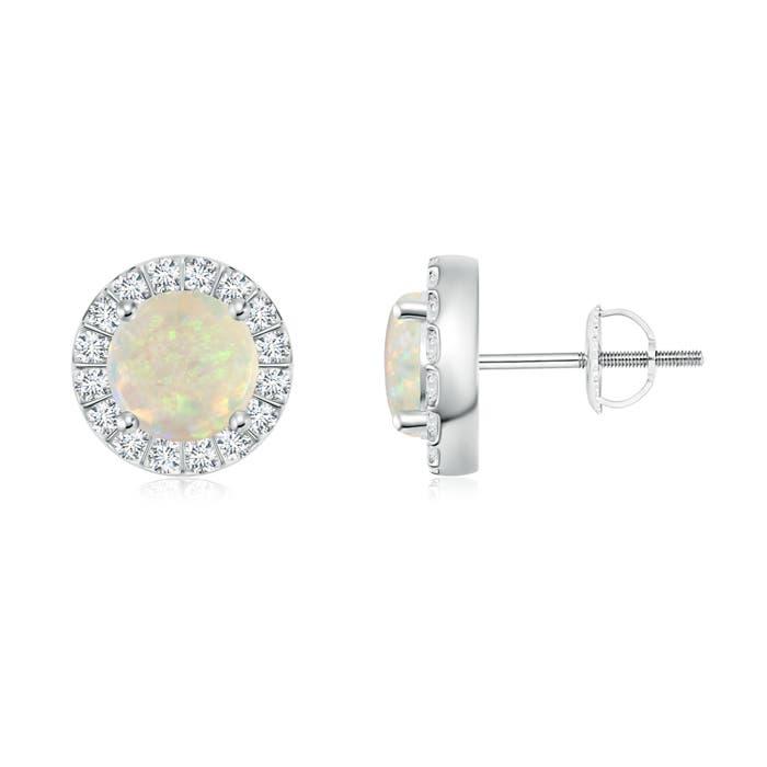 Opal Stud Earrings with Bar-Set Diamond Halo - Angara.com