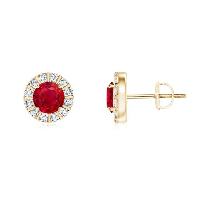 Angara Round Ruby and Diamond Halo Stud Earrings cGFltzYlN