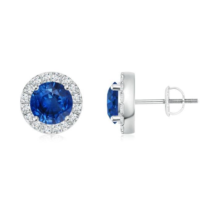Blue Sapphire Stud Earrings with Bar-Set Diamond Halo - Angara.com