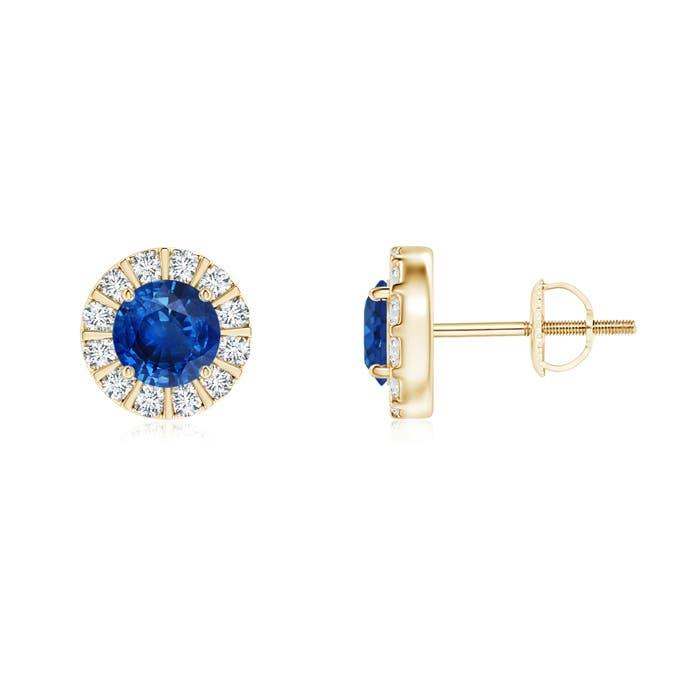 Angara Round Sapphire and Diamond Studs in 14k Yellow Gold UgTcXmf