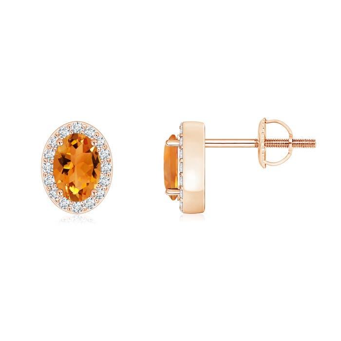 Angara Natural Citrine Stud Earrings in Platinum jyZzm