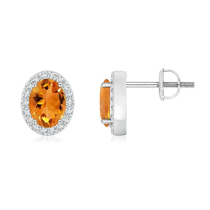 Angara Claw-Set Oval Citrine and Diamond Halo Earrings zWN9Eb