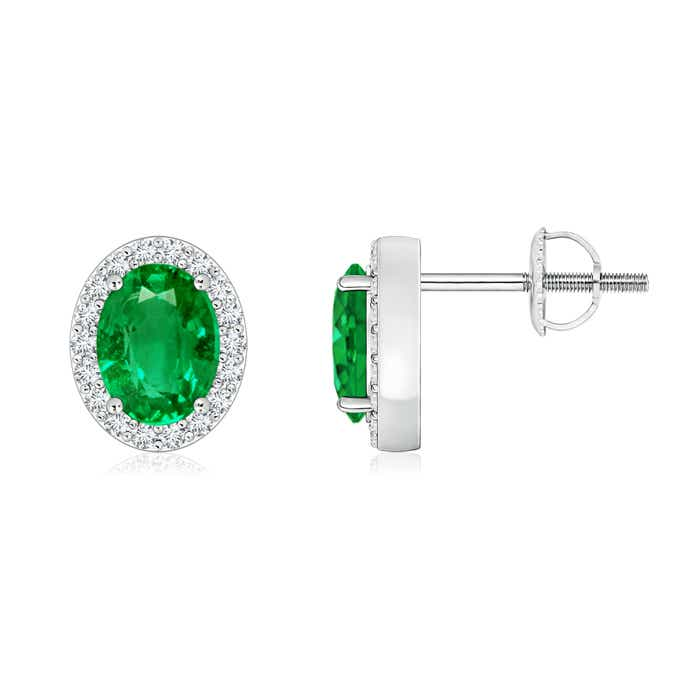 Angara Diamond Halo Oval Emerald Stud Earrings in Yellow Gold jrNti9sf