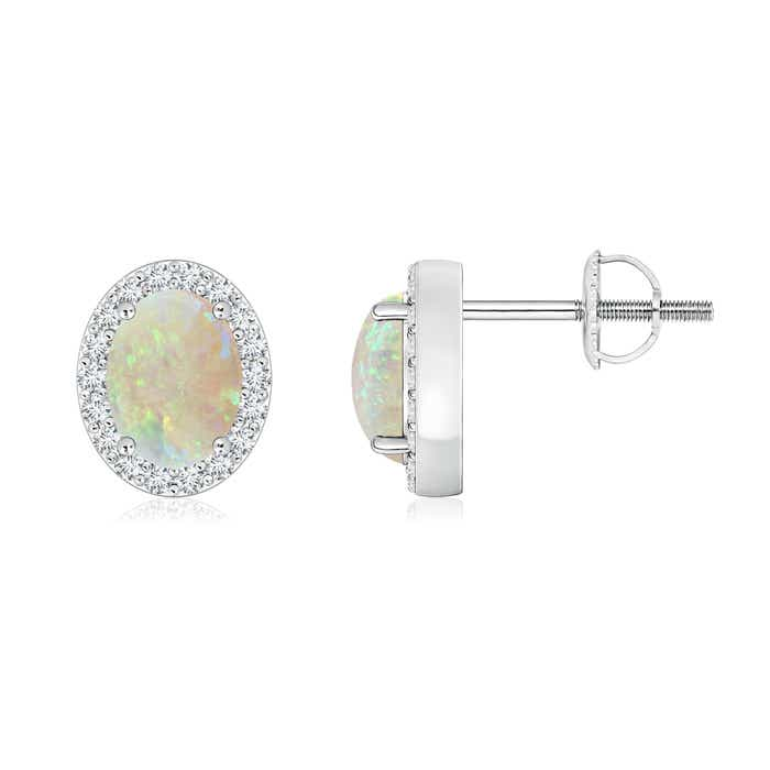 Angara Solitaire Opal Earrings in Rose Gold 58NuE