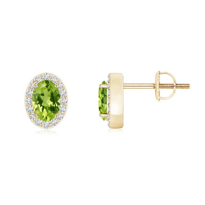 Angara Natural Peridot Stud Earrings in Yellow Gold 8zFSc