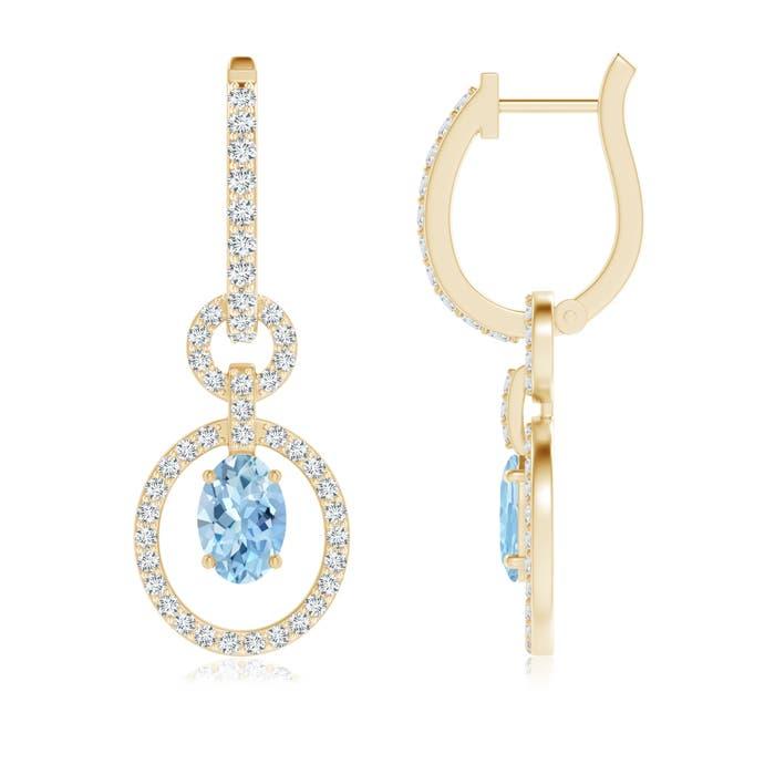 Floating Oval Aquamarine Dangle Hoop Earrings with Diamond Accents - Angara.com