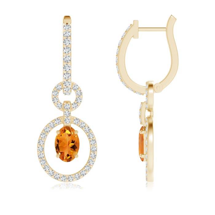 Floating Oval Citrine Dangle Hoop Earrings with Diamonds - Angara.com