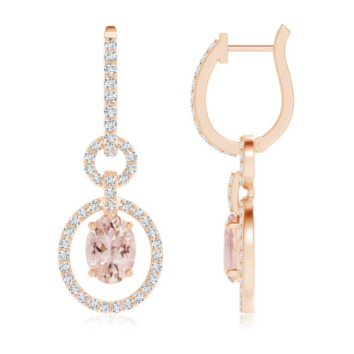 Floating Oval Morganite Dangle Hoop Earrings with Diamonds - Angara.com