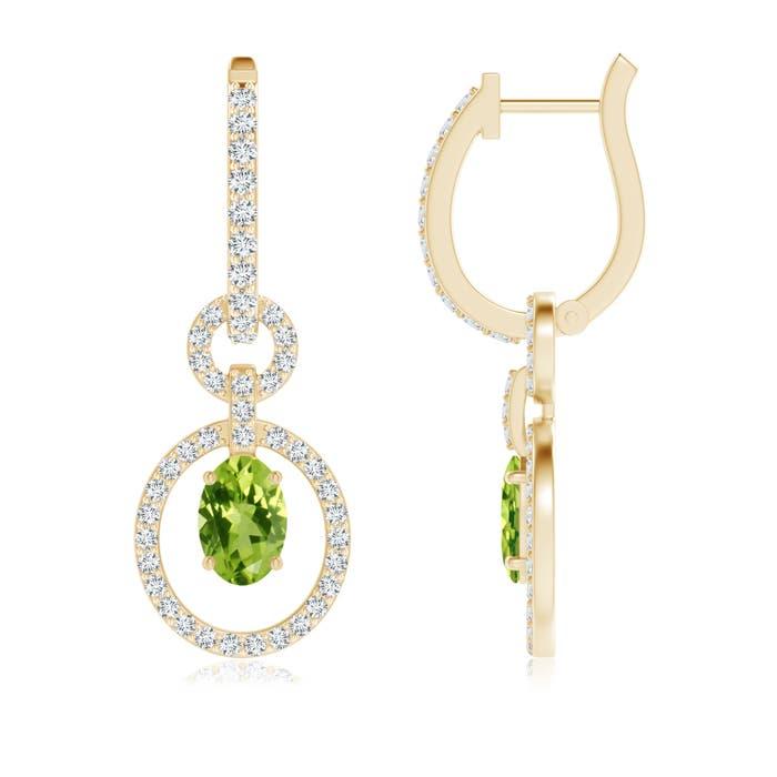 Floating Oval Peridot Dangle Hoop Earrings with Diamonds - Angara.com