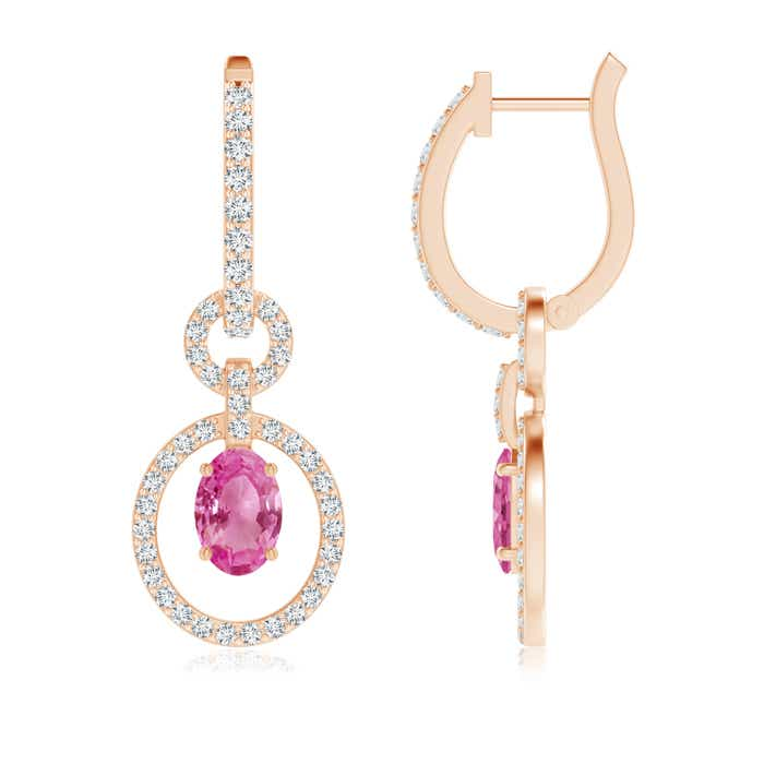 Angara Solitaire Pink Sapphire Drop Earrings in White Gold 3lmWaZ97x