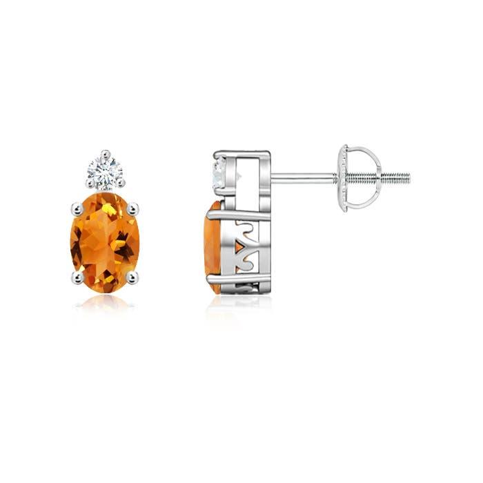 Angara Basket-Set Oval Citrine Stud Earrings with Diamond in 14K White Gold f5b1ckwUkS