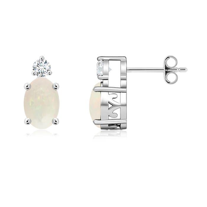 Angara Diamond Natural Opal Basket Stud Earrings in Platinum 8Rm7ltdB