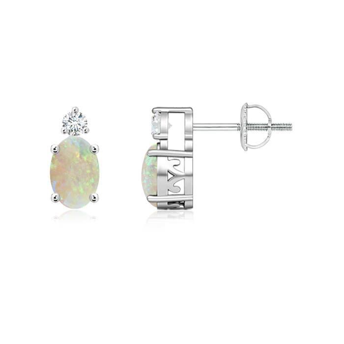 Basket Set Oval Opal Stud Earrings with Diamond - Angara.com