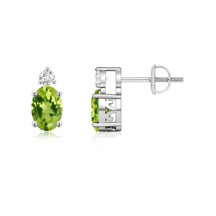 Angara Basket-Set Oval Peridot Stud Earrings with Diamond 6nCr8eypFR