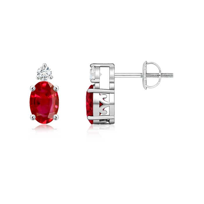 Angara Basket-Set Round Ruby Stud Earrings in Platinum VsJgcLm