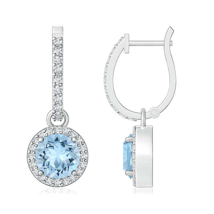 Round Aquamarine Dangle Earrings with Diamond Halo - Angara.com