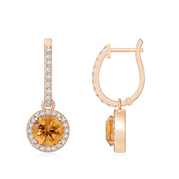 Angara Dangling Citrine and Diamond Halo Earrings in White Gold 2Zwm1WEID