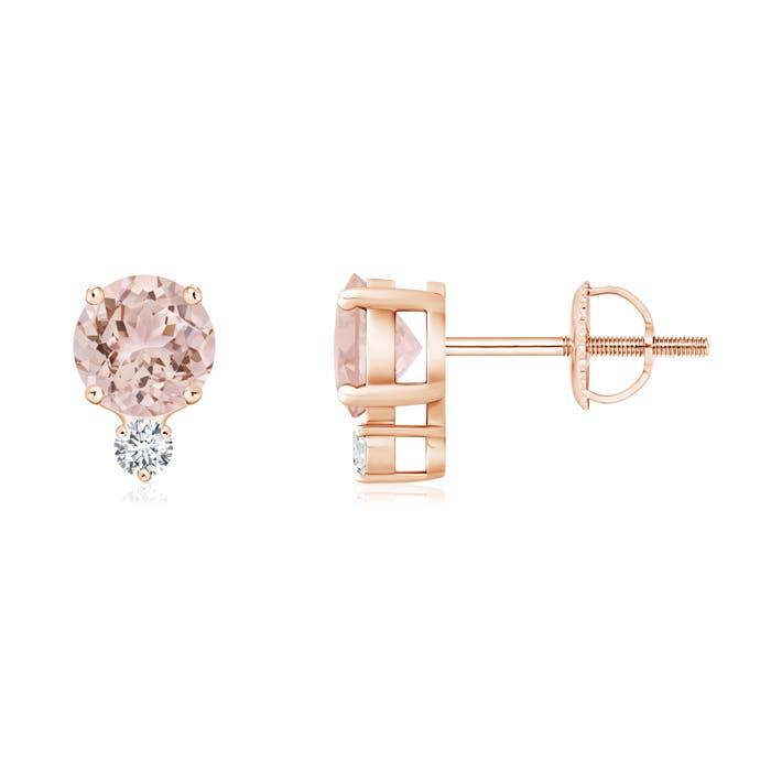 Basket-Set Round Morganite Stud Earrings with Diamond - Angara.com