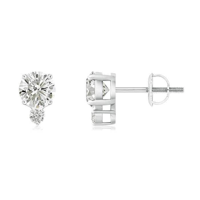 Angara Vintage Style Round Moissanite Solitaire Earrings ICL2L5