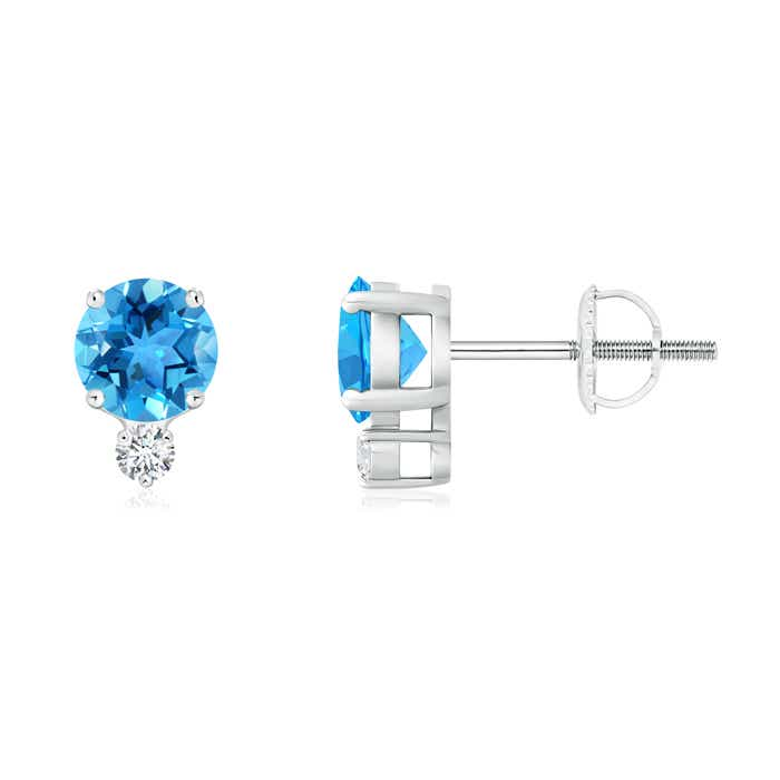 4 Prong Set Swiss Blue Topaz Basket Stud Earrings with Diamond - Angara.com