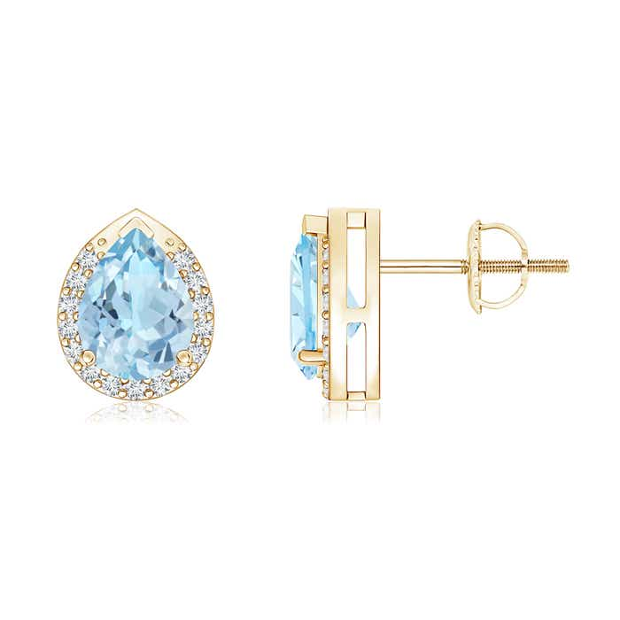 Angara Natural Aquamarine Stud Earrings in Rose Gold 6wj4tO2y