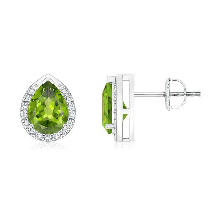 Angara Pear-Shaped Peridot Stud Earrings with Diamond Halo a6g8AMrHl