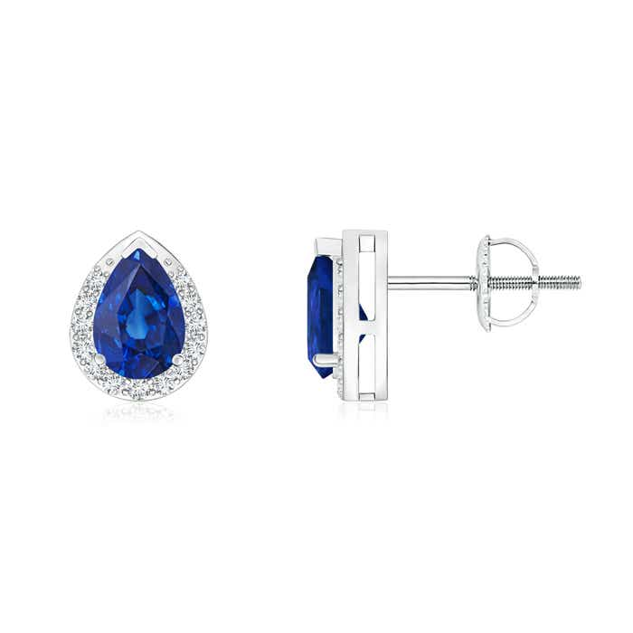 Angara Pear-Shaped Blue Sapphire Stud Earrings with Diamond Halo OSlAJg
